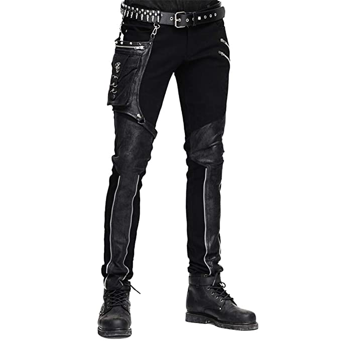 Men's Steampunk Clothing, Costumes, Fashion Devil Fashion Casual Pants for Men Punk Patchwork Straight Trousers with Pocket $132.99 AT vintagedancer.com