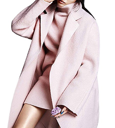 Hego Women's 2017 Spring New Turn-down Collar Loose Long Pink Wool Coat H2964 (XL, Pink) (Pink Coat)