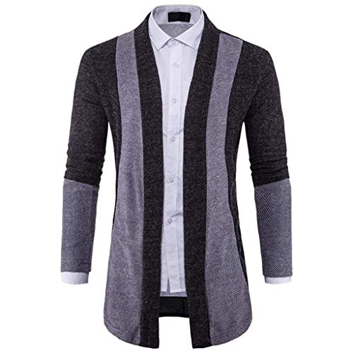 couleur Mieuid contraste Style En Long Cardigan Option Schwarz Couleur Homme Styles D Unie Carreaux rayé 6 Chic Hommes À vqvA0xfr