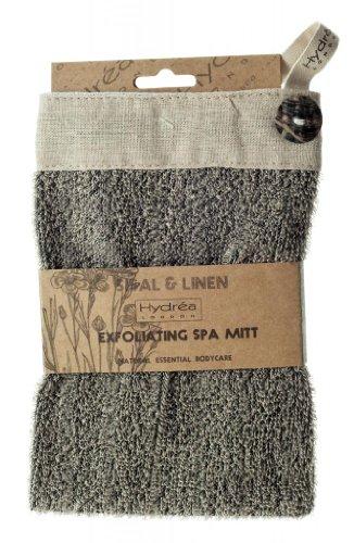 Hydrea London Natural Charcoal Sisal & Linen Exfoliating Square Wash Mitt BEMT09