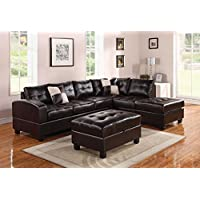 ACME Kiva Espresso Bonded Leather Reversible Sectional Sofa with 2 Pillows