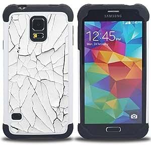 For Samsung Galaxy S5 I9600 G9009 G9008V - paint rustic wall white broken Dual Layer caso de Shell HUELGA Impacto pata de cabra con im??genes gr??ficas Steam - Funny Shop -