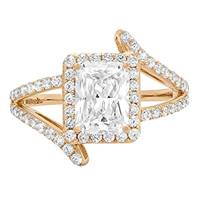 2.2ct Brilliant Emerald Cut Designer Statement Solitaire Simulated Diamond Ring 14k Yellow Gold by Clara Pucci