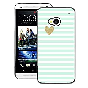 A-type Arte & diseño plástico duro Fundas Cover Cubre Hard Case Cover para HTC One M7 (Green Mint Gold Heart Love Stripes White)
