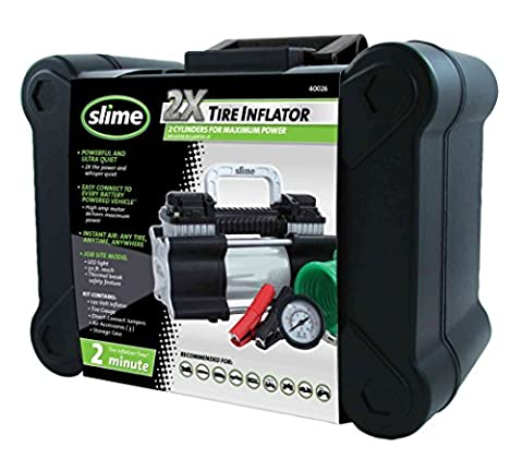 Slime 40026 2X Heavy Duty Direct Drive Tire Inflator (Portable Air Power)