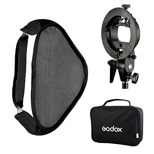 Pro Flash Bracket (Fomito Godox Pro Floading Adjustable 60cm x 60cm Flash Soft Box Kit with S-Type Bracket Bowen Mount Holder for Camera Studio Photography)