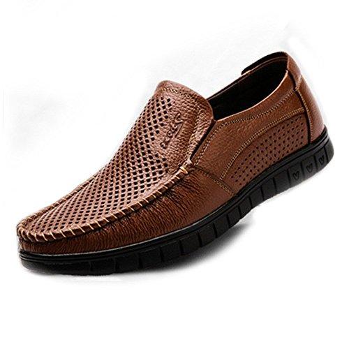 Opcional mocasín Zapatos BN Perforación Suave Mocasines Hombre de 40 Plana Suela on Color clásico Genuino de Zapatos Cuero 2018 EU Perforation Hombre Perforación para Oscuro Bn Slip tamaño wUanBI