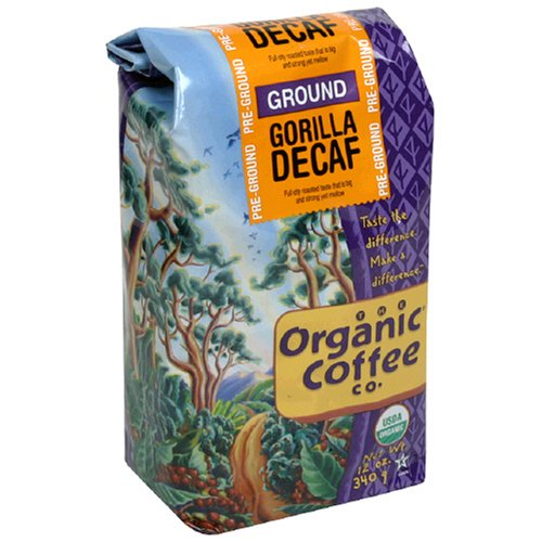 The Organic Coffee Co. Ground, Decaf Gorilla, 12 Ounce (1 Bag)