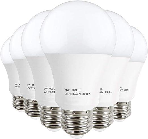 LAKES Bombilla LED E27 A60 de 9W, equivalente de bombilla halógena ...
