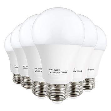 LAKES Bombilla LED E27 A60 de 9W, Equivalente de Bombilla halógena de 60W, no
