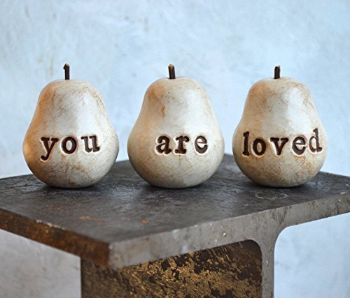 You are loved pears, mom gift idea, hand stamped clay pears with words