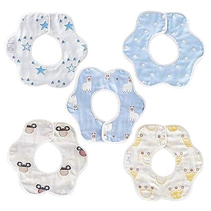 Vearge 6 piezas bebé baberos suave resistente al agua, 360 ...
