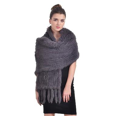 OLLEBOBO Femme de Echarpes Mode et longue en fourrure de lapin en hiver  Gris Sombre b6ef22b72f4
