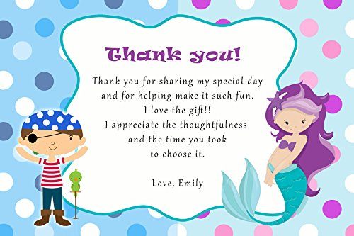 30 Thank You Cards Purple Mermaid Pirate Girl Birthday Personalized Cards Photo Paper