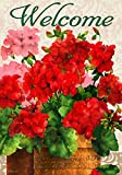 '' Red Geraniums '' - Double Sided, Standard Size, 28 Inch X 40 Inch Decorative Flag