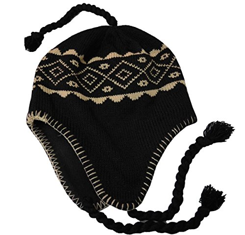 SW Men's Peruvian Helmet Style Earflap Strings Beanie Knit Hat Black Khaki