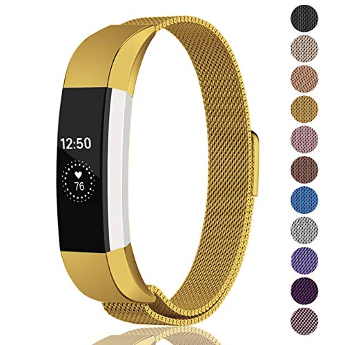 Fundro Compatible Fitbit Alta HR and Alta Bands (2 Pack), Stainless Steel Metal Milanese Bracelet Strap Replacement Wristband Magnetic Lock for Fitbit Alta Women Men (1-Pack Gold, Large)