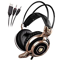 GW SADES Arcmage Updated Version 3.5mm Wired Gaming LED Lighting Headset Over Ear Headphones with Mic for PC/Notebook/Laptop/Mobile Phone(Gold)