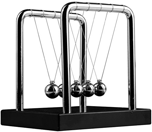 Sunnytech Mini Newton's Cradle Balance Balls Science Psychology Desk Decor Decompression Toy WJ035 (Environment Metal Office)