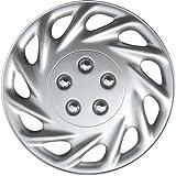 """OxGord WCKT-858-14-SL Wheel Cover/Hub Cap, Silver/Lacquer, 14"""""""
