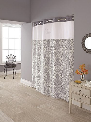 Hookless RBH85MY986 Vintage Medallion Polyester with PEVA Snap-in Liner and Flex-On Shower Curtain, Silver and White, 71x74,