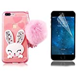 Bonice Phone Case for iPhone 7 Plus Cute Cartoon Rabbit Bling Diamond Crystal Clear Soft Transparent TPU 3D Cute Ear Stand Silicone Case with Hairball Pompon Wristlet + HD Screen Protector - Pink