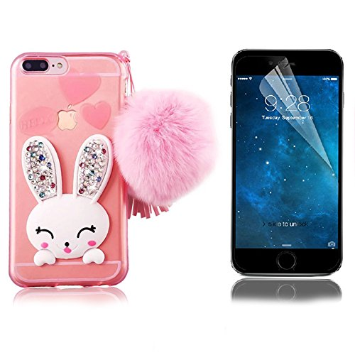 Bonice Phone Case for iPhone 7 Plus Cute Cartoon Rabbit Bling Diamond Crystal Clear Soft Transparent TPU 3D Cute Ear Stand Silicone Case with Hairball Pompon Wristlet + HD Screen Protector - Pink (Diamond Crystal Protector)