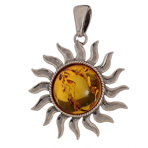 Sterling Silver and Baltic Amber Sun Pendant (Medium) (Amber Sun Necklace)