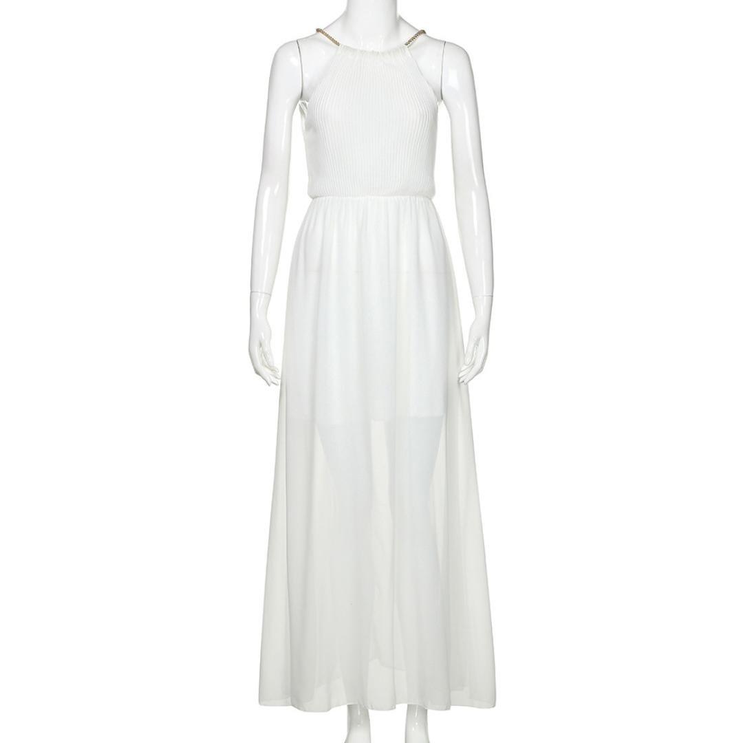 f07a1a592e6 Amazon.com  Balakie Ms. Solid Color Chiffon Sleeveless Halter Beach Dress  Evening Party Long Maxi Dresses (XL