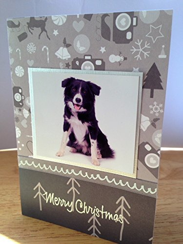 Christmas dog card Handmade Greetings Sheepdog border collie dog card Thanksgiving Xmas card Holidays Seasons greeting card Handmade Xmas dog card