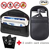 RFID Signal Blocking Pouches, 2 x Faraday Bags and 2 x RFID Blocking Sleeves, Privacy Prevention for Car Keys,Credit Cards& Mobile Phone, 100% Blocking WIFI/GSM/LTE/NFC/RF