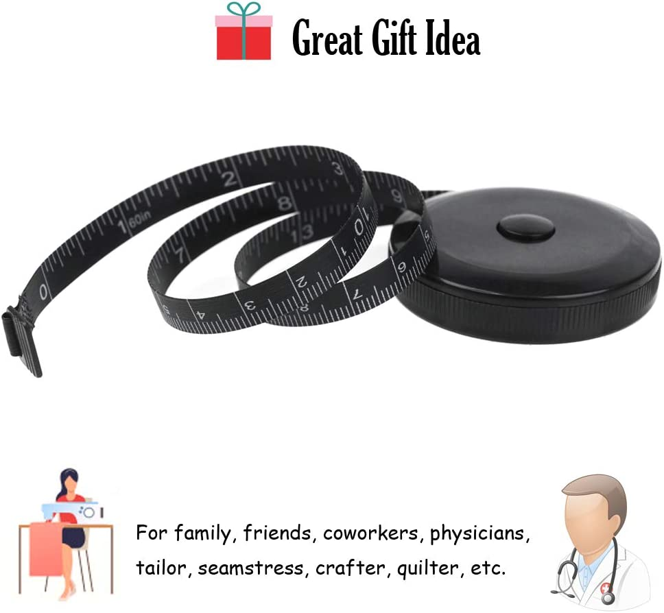 FoRapid Soft Tape Measure for Body Measuring Tape Cloth Measuring Tape Physicians for Sewing Tailor Craft Cloth Ruler Fabric Anthropometric Measurements Tape Retractable 60IN//1.5M 1 Pack Black