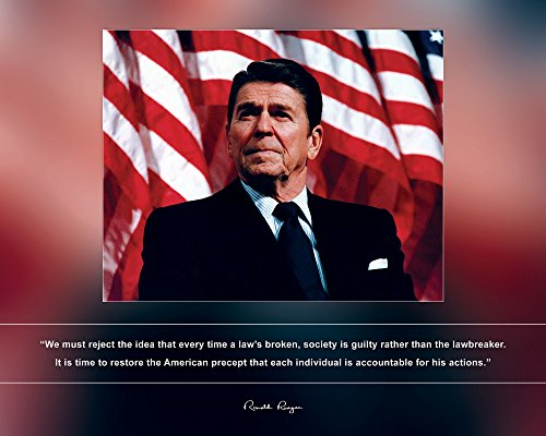 Ronald Portrait Reagan (Ronald Reagan Photo Picture Poster Framed Quote We Must Reject The idea That Every time a law's Broken US President Portrait Famous Inspirational Motivational Quotes (8x10 Unframed Photo))