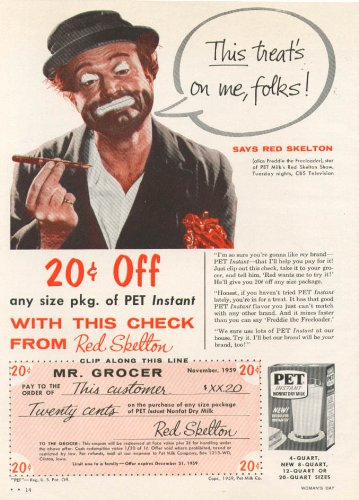 Red Skelton for Pet Instant Nonfat Dry Milk ad 1959 from The Jumping Frog