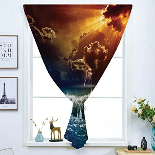 Blackout Window Curtain,Free Punching Magic Stickers Curtain,Lake House Decor,Thunderstorm Rays over the Ocean Waves Wild Forces Burnt Fire in the Air Decorative,Blue Orange,Paste style,for Living Roo -