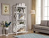 Mixcept 67'' Solid Pine Wood Bookshelf 4 Tier Bookcases Storage Rack Shelving Unit Collection Shelf, White