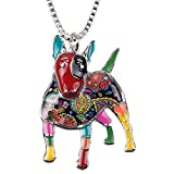"Bonsny Collection ""BOWSER"" Love Heart Enamel Alloy Pets English Bull Terrier Dog Necklace Animal Women pendant 18"" … (Multicolor)"