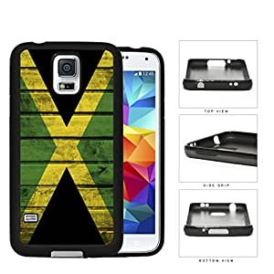 Jamaica Flag Wood Pattern Green Yellow and Black Hard Rubber TPU Phone Case Cover Samsung Galaxy S5 I9600