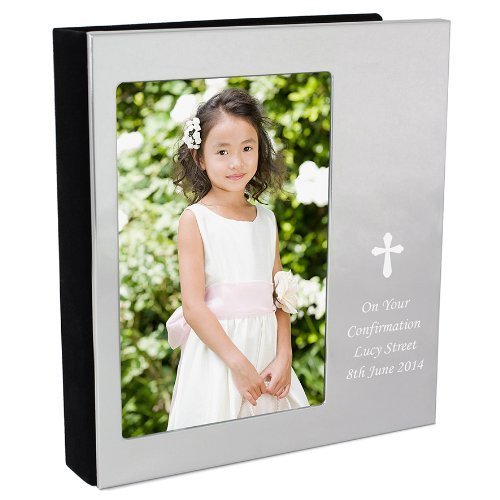 Personalised Silver Cross 6x4 Photo Album - FREE ENGRAVING - Perfect for Christening, Baptism, Holy Communion, Confirmation and Wedding