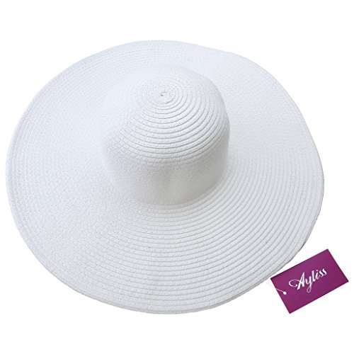 0fba76aa94a5c Ayliss Women Floppy Derby Hat Wide Large Brim Beach Straw Sun - Import It  All