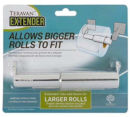 Paper Standard Holder - Teravan Standard Extender for Larger Toilet Paper Rolls (Silver)