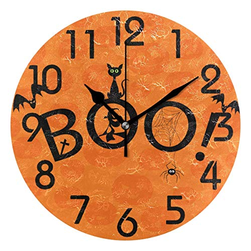 Dozili Cute Halloween Style Boo Black Cat Witch Bats Spider Pumpkins Background Round Wall Clock Arabic Numerals Design Non Ticking Wall Clock Large for Bedrooms,Living Room,Bathroom