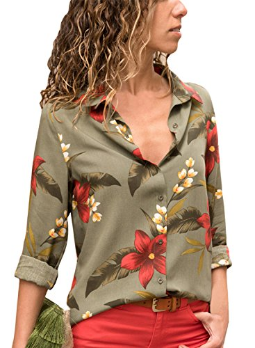 Dokotoo Womens Tops Spring Autumn V Neck Long Sleeve Floral Print Boho Button Up T Shirts Loose Casual Blouses Tops Green Large