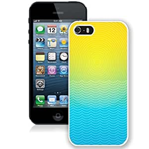 Fashionable Custom Designed iPhone 5S Phone Case With Sun And Ocean Line Illustration_White Phone Case