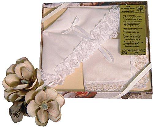 Polycotton Christening Bonnet to Trousseau Hankie Gift Set with Narrow Lace - Trousseau Lace