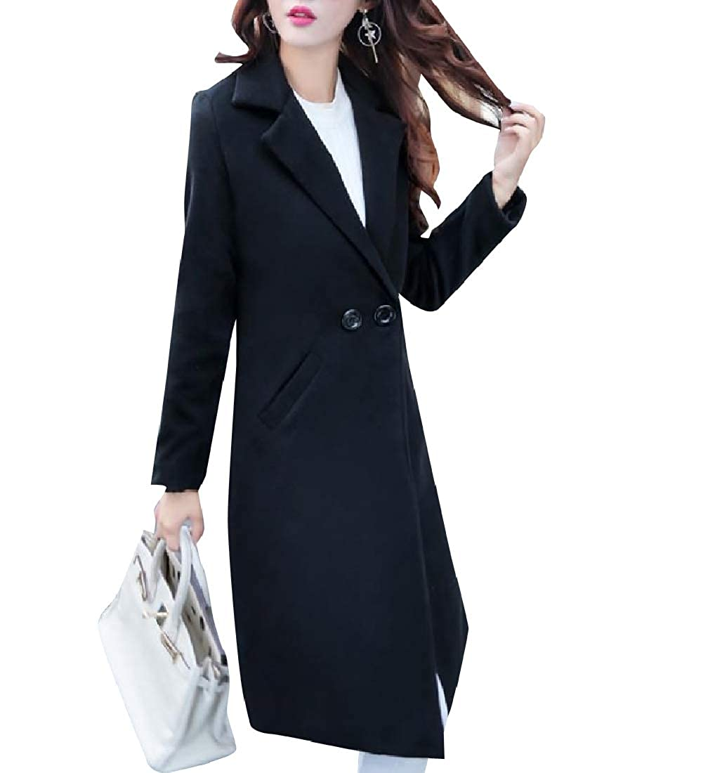 Black Tootca Women Buttoned Below The Knee Fall Winter MidLong Tops Outwear