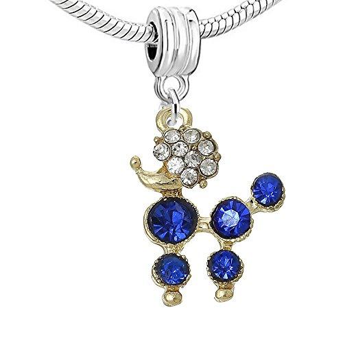 Poodle Jewelry (Poodle Dog Dangle Charm Bead for Snake Chain Charm Bracelets (Choose From Menu) (Blue Poodle charm))