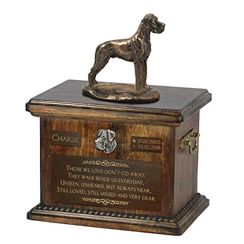 Great Dane uncropped, Urn for Dog Ashes Memorial with Statue, Pet's Name and Quote - ArtDog Personalized ()
