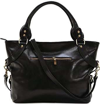 Floto Black Taormina Bag in Italian Calfskin Leather - handbag, shoulder bag, hobo