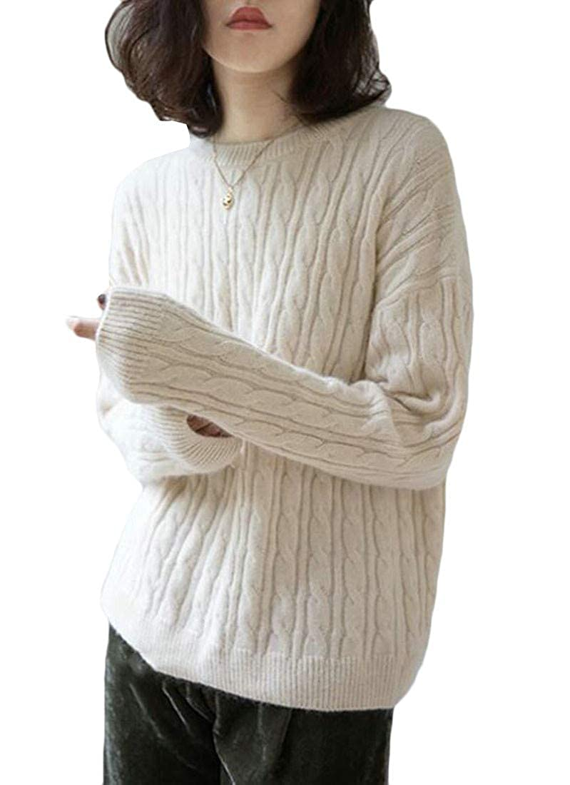 Lutratocro Womens Warm Chic Crewneck Pullover Knitted Cable Jumper Sweaters